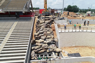 Arkansas State University West waterfall, front elevated view