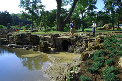 Lake Geneva Wisconsin Construction stream and 4' tall watergall and grotto into lower pond