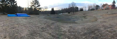 West Alford Massachusetts 1 acre swim pond excavation completed and ready for liner.