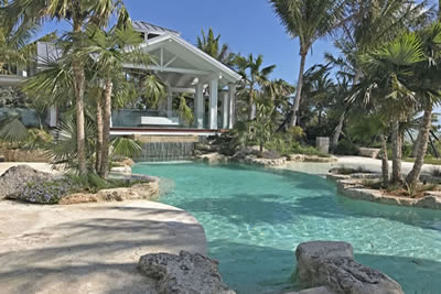 Coral Islamorada Florida  Coral patio, outcroppings and waterfall.